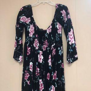 Black Floral Smocked Skater Dress